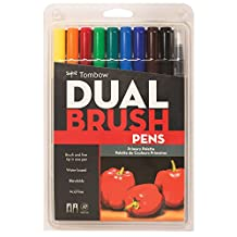 Tombow Dual Brush Pen Art Markers, Primary, 10-Pack-Product Dimensions: 9 x 0.8 x 5.9 inches-Shipping Weight: 5.4 ounces- Fiber brush tip-E-book for You@