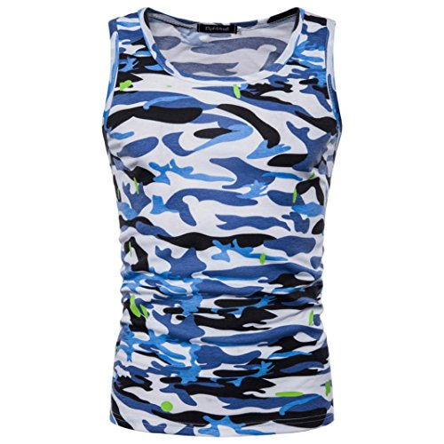 - Mens Tank Top ! Charberry Mens Camouflage Sleeveless Printed Tank Top Casual Camouflage Print O Neck Sleeveless T-shirt Top Vest Blouse (US-M/CN-L, Blue)