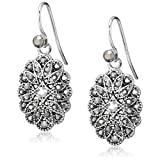 1928 Jewelry Silver-Tone and Hematite Crystal Vintage Inspired Oval Drop Earrings