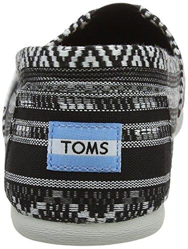Toms Womens Classic Lino Corda Suola Confortevole E Facile Da Montare Slip-on Tessuto Culturale Lineare Nero / Bianco