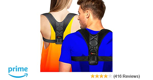 df54d0293f37a Amazon.com  4well Posture Corrector for Women Men - Rounded Shoulders  Ultimate Comfort Designed in USA - Wearable Posture Support Straps for  Upper Back.