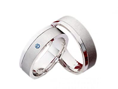 Partner anillos anillos de bodas de plata 821 topacio azul con piedras de colores alianzas Incluye grabado: Amazon.es: Joyería
