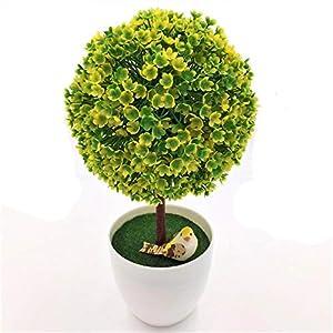 MARJON FlowersHome Decorative Artificial Artificial Topiary Ball Flowers Fake Green Pot Plants Ornaments Home Decor Emulate Bonsai in White Hybrid Plastic 1