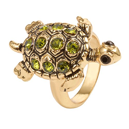 MANZHEN Vintage Animal Gold Silver Crystal Women's Sea Turtle Ring (Gold-Filled, 9)