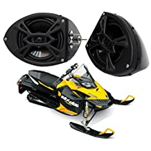 "Ski-Doo Snowmobile Rockford Syst P152 Custom 5 1/4"" Gloss Black Speaker Pod Pair"