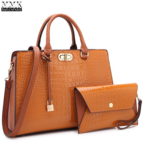 MMK Collection Retro Concise Medium Size Front Twisted Lock Women Satchel Handbag with Free Matching Fashion Coin Purse~Perfect Gift Set for Lady~Beautiful Briefcase(7581) (MA-XL-10-7581-BR) ()