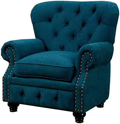 Furniture of America Linden Traditional Arm Chair, Teal Blue
