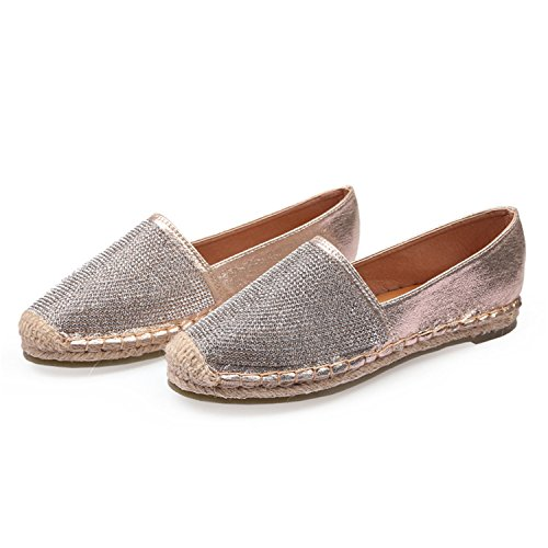 Espadrille Girl Gold Loafers Hemp Perfues Bling Bottom Flats Women 2018 Crystal Rhinestone Autumn Shoes Shoes qZFxxwE1nT