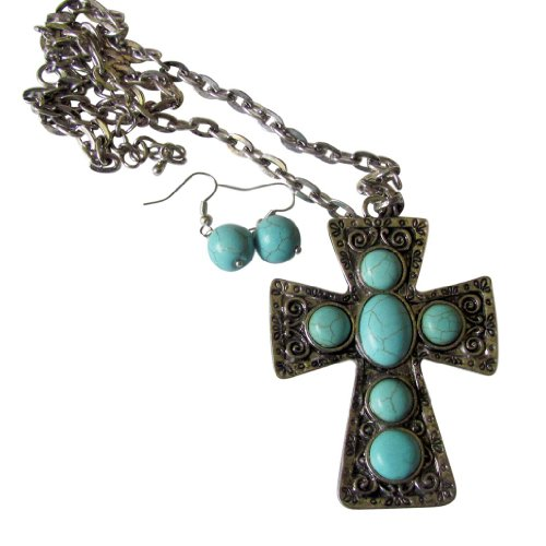 - Turquoise (man made) Cross Rope Chain Necklace with 3.5