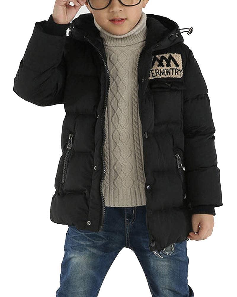 Jungen Verdickte Lange Mit Kapuze Jacke Parka Oberbekleidung Kleidung