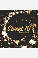 Sweet 16 Guest Book: Party keepsake for family and friends to write in (Square Gold Star Swirl) Paperback