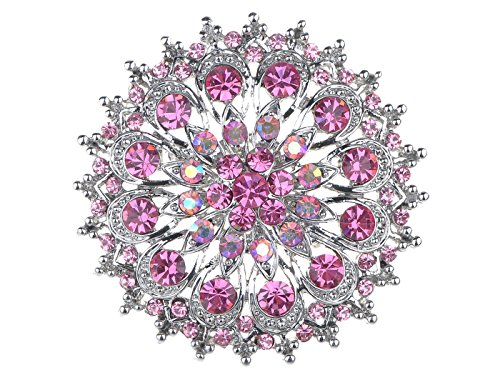 Alilang Pink Rose Rhinestone Crystal Royal Princess Crest Floral Wreath Bouquet Wedding Brooch Pin Renaissance Princess Purse
