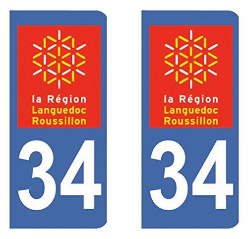 Paire Sticker immatriculation 34 - Hé rault Autocollant-immatriculation