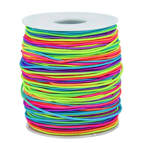 Sunmns 1.2mm Elastic Cord Beading Stretch String for Jewelry Bracelet Making, Rainbow 100 m