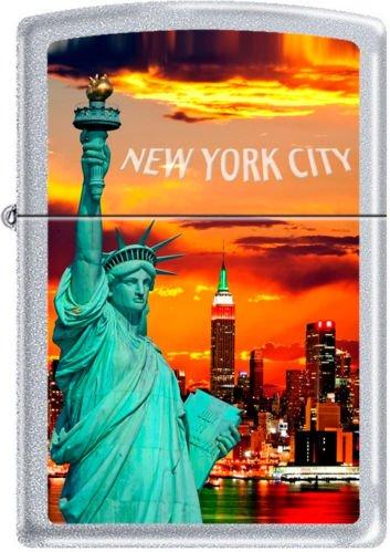 Zippo New York City Statue Of Liberty Skyline Chrome Lighter ()