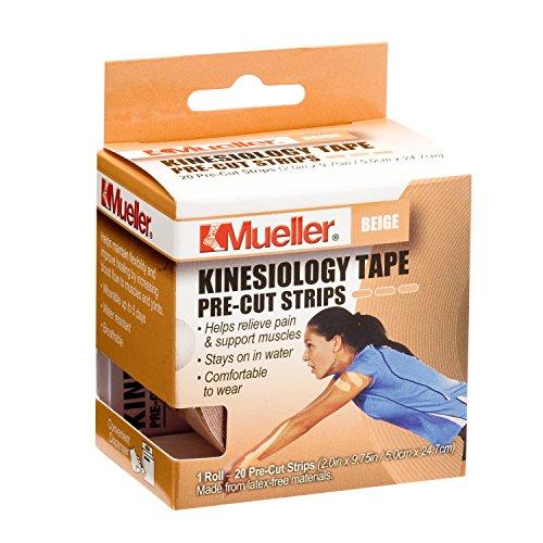 Mueller Sports Medicine Kinesiology Tape Pre-Cut Strips, Beige, 0.23 Pound