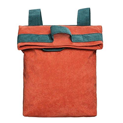 Orange Backpack Widewing Bag Teenager Women Shoulder European Corduroy Retro wRgqR