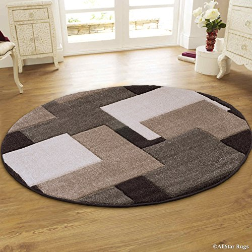 (Allstar 6R Chocolate Abstract Round Accent Rug with Taupe and Ivory Square Design Area Rug (5' 5