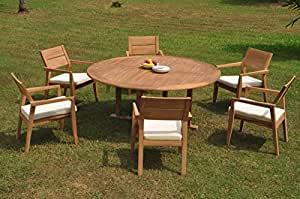 "WholesaleTeakFurniture Grade-A Teak Wood 6 Seater 7 Pc Dining Set: 72"" Round Table 6 Vellore Stacking Arm Chairs #WFDSVL34"
