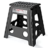 Kyпить Acko 16 Inches Super Strong Folding Step Stool for Adults and Kids, Kitchen Stepping Stools, Garden Step Stool Black на Amazon.com
