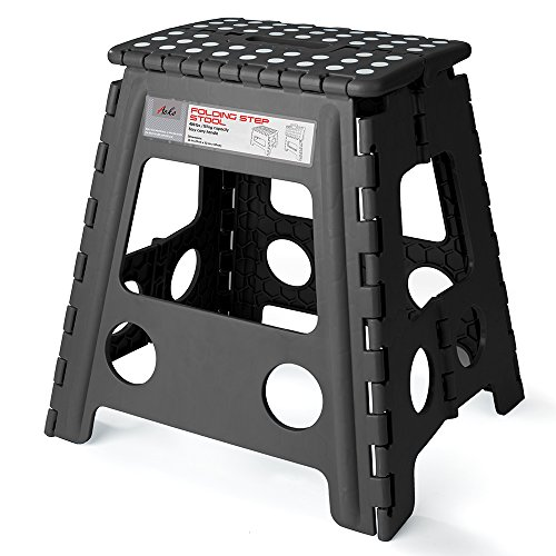 Acko 16 Inches Super Strong Folding Step Stool for Adults and Kids, Kitchen Stepping Stools, Garden Step Stool Black Folding Step Stool