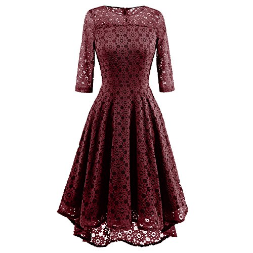 SUITEASY Women Retro Floral Lace Dress 3/4 Sleeve Prom Wedding Cocktail Dress (XX-Large, Wine Red) (Women Older For Dresses)