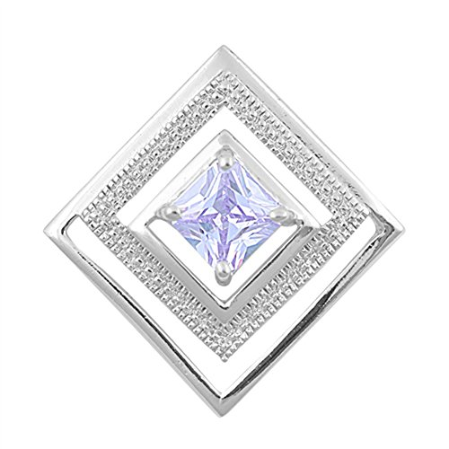 Modern Multiple Square Pendant Simulated Lavender .925 Sterling Silver Charm