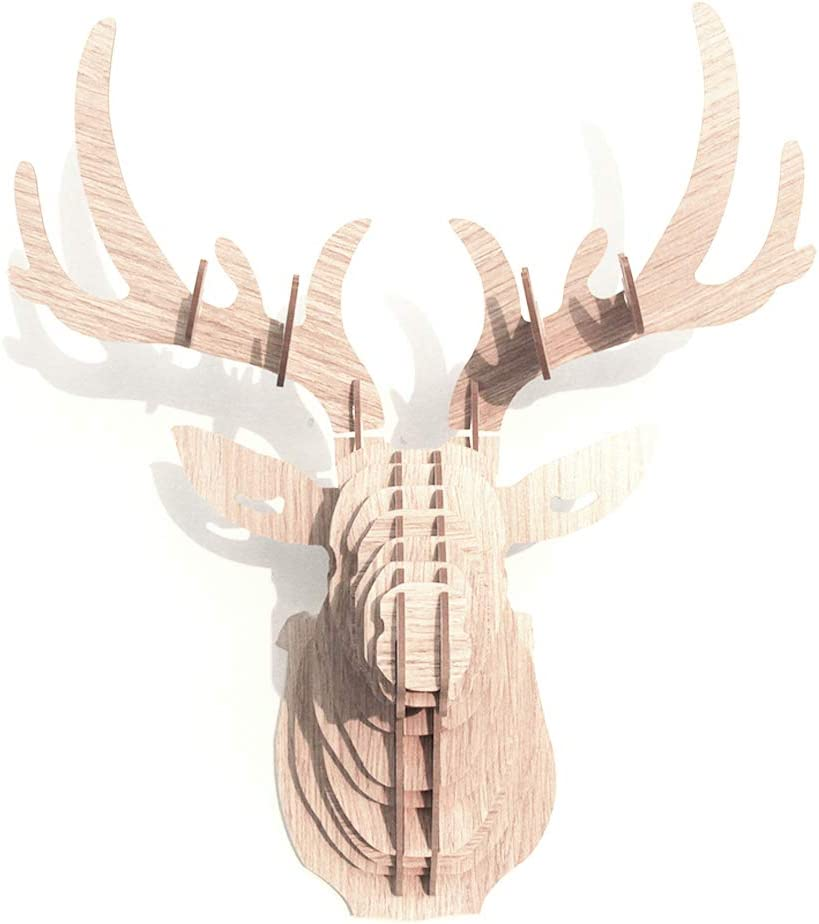 Hooshing Deer Head Wall Decor Trophy Sculpture DIY 3D Puzzle (Beige)