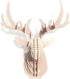 Hooshing Deer Head Wall Decor Trophy Sculpture DIY 3D Puzzle (Beige)