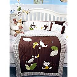 SoHo Curious Monkey Baby Crib Nursery Bedding Set for boys 13 pcs included Diaper Bag with Changing Pad & Bottle Case