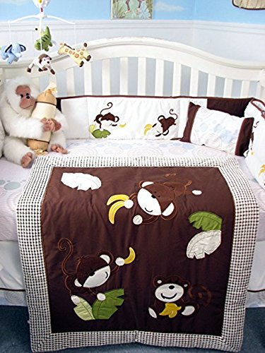 SoHo Curious Monkey Baby Crib Nursery Bedding Set (Brown)