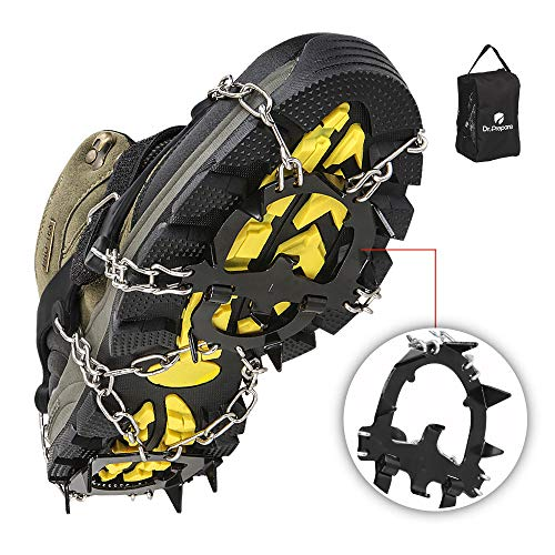 Dr. Prepare Traction Cleats Ice Grips for Shoes Anti-Slip Stainless Steel Crampons with 13 Spikes and Adjustable Straps for Walking, Hiking, Jogging, Climbing, and Ice Fishing
