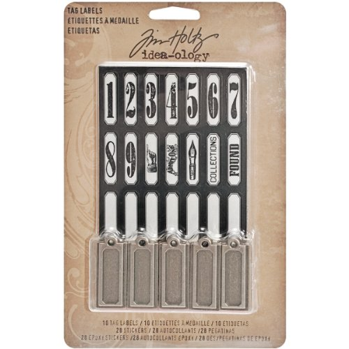 Scrapbook Metal Tag - Metal Tags and Labels by Tim Holtz Idea-ology, 10 Tags and 56 Stickers, Multicolored, TH93059