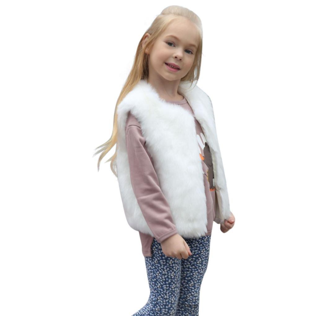 Hongxin Kid Baby Girl Autumn Winter Faux Fur White Waistcoat Thick Coat Warm Outwear Clothes Princess Dress