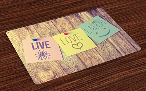 Lunarable Place Mats Set of 4, Picture of Post-it Notes Live Love and Laugh on Wooden Wall Positive Message Print, Washable Fabric Placemats for Dining Room Kitchen Table Decor, Multicolor