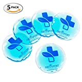 Round Gel Ice Packs - Set of 5 Reusable Gel Ice Packs - Ideal for both Cold or Hot Therapy - No Leaks, No Drips, Durable Design - Microwaveable - Effective Pain Relief and Swelling Control