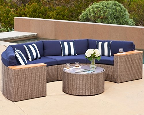 Grey Wicker Sectional Set - Solaura Outdoor 5-Piece Half-Moon Crescent Sectional Furniture Set All Weather Grey Wicker with Nautical Navy Blue Waterproof Cushions & Sophisticated Glass Coffee Table | Patio, Backyard, Pool