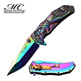 Cheap Master Cutlery MC-A036RB-MC Mc-A036RB Collection Laser Etch Folding Knife, 3.75″/4.75″, Rainbow