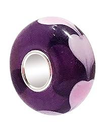 JMQJewelry Heart Mom Charm Purple Murano Bead For Charm Bracelets