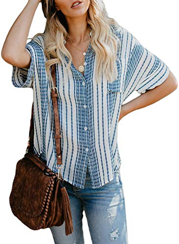 Astylish Womens Shirts Fashion Loose Short Sleeve Summer V Neck Button up Stripes Peasant Blouse Casual Tops and T Shirts XX-Large 18 20 Sky Blue
