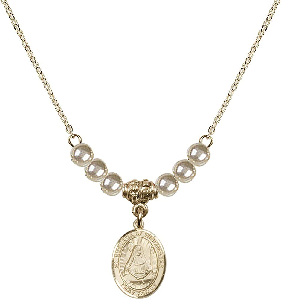 18-Inch Hamilton Gold Plated Necklace with 4mm Faux-Pearl Beads and Gold Filled Saint Edburga of Winchester Charm.