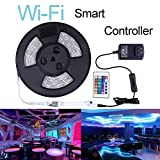 Miheal WiFi LED Light Strip Music Sync Remote Controlled by Alexa Echo Android ISO Smart Phone IP65 Waterproof 32.8ft Cuttable Strip with 24 Keys Controller and RGB 300LED SMD5050 (White PCB)