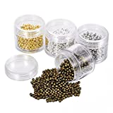 HOUSWEETY 3000PCS 4 Colors Mixed Tube Crimp End Beads 3mm Bracelet Loose Beads Spacer Jewelry Making End Caps