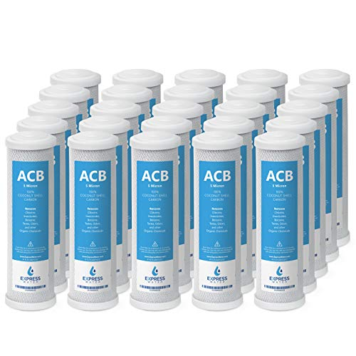 Express Water - 25 Pack Activated Carbon Block ACB Water Filter Replacement - 5 Micron, 10 inch Filter - Under Sink and Reverse Osmosis System