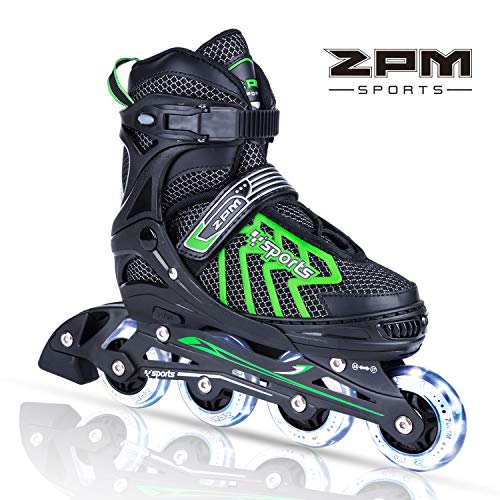 2PM SPORTS Brice Adjustable Inline Skates, Featuring Light Up Wheels, Fun Flashing Skates for Boys Kids and Youth - Green M