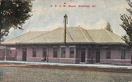 Fairbury Illinois TP and W Depot Train Station Antique Postcard J68325
