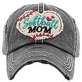 H-212-SOFTBALL06 Distressed Baseball Cap Vintage Dad Hat - Softball Mom (Black)