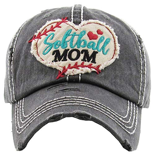 (H-212-SOFTBALL06 Distressed Baseball Cap Vintage Dad Hat - Softball Mom (Black))