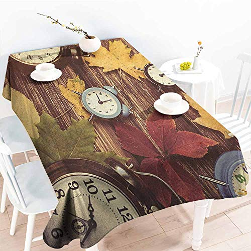 - familytaste Fall,Fabric Tablecloth Different Colored Dry Maple Leaves and Various Alarm Clocks on Wooden Planks Print 60