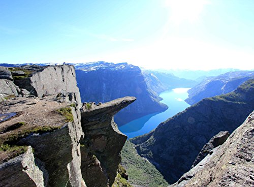 Wooden Jigsaw Puzzle Trolltunga Rock Mountain View Scenic Cliffs Norway 500-Pieces